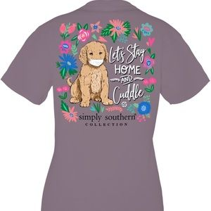Simply Southern Dog in Mask Plum T-shirt